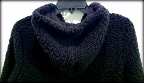 Center Pocket Pom Poms Womens Sz S NWT Flirtitude Black Sherpa Hooded Pullover