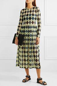 Molly-Goddard-NEW-Argyle-Print-Stretch-Semi-Sheer-Mesh-Midi-Dress-Alberta-6-10UK