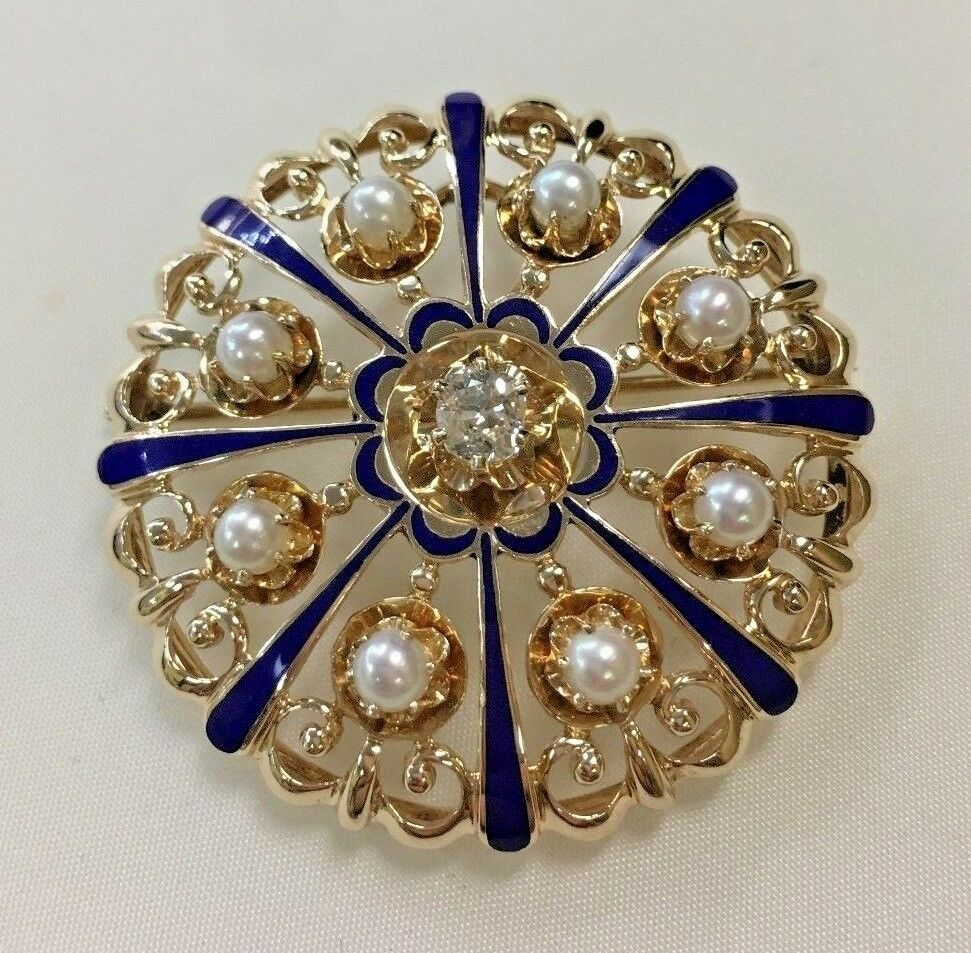14k Yellow gold Brooch Pendant with Porcelain and Center Diamond with Pearls