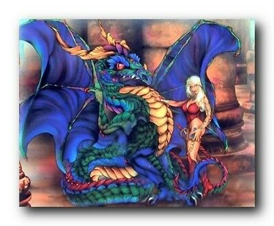Magical Dragon Wizard Fire Kids Room Fantasy Wall Decor Art Print Poster 16x20