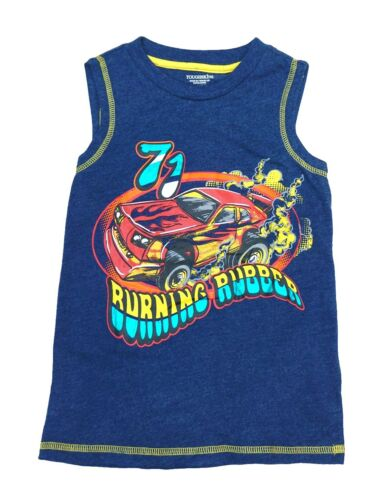 "Toughskins Blue /""Burning Rubber/"" Racing Car Muscle Tank Shirt Little Boys 3T-6"