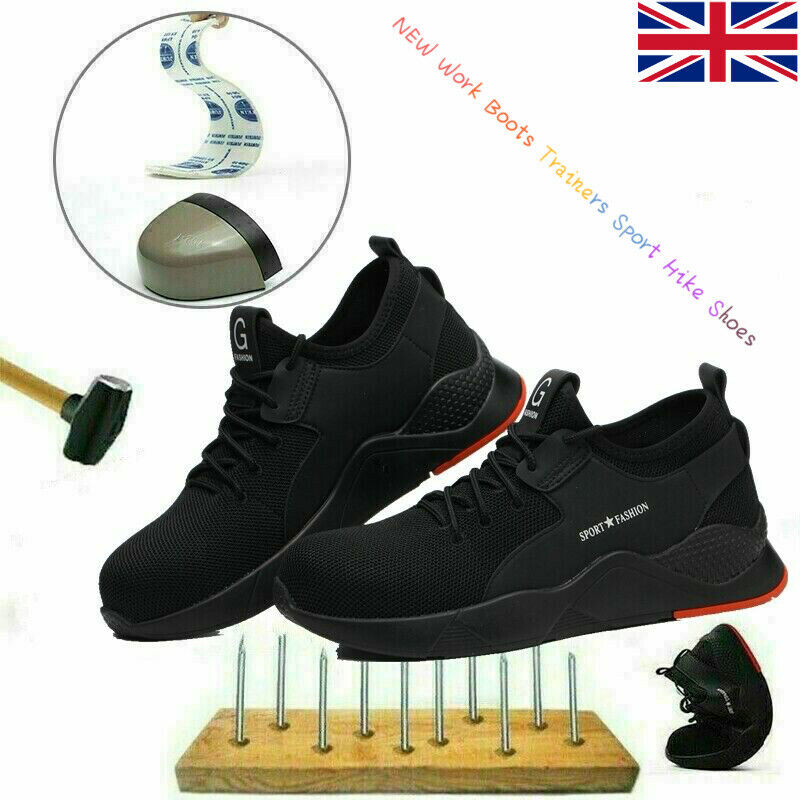 UK Men Women Safety Shoes Steel Toe Cap Work Boots Trainers Sport Hike Shoes F1