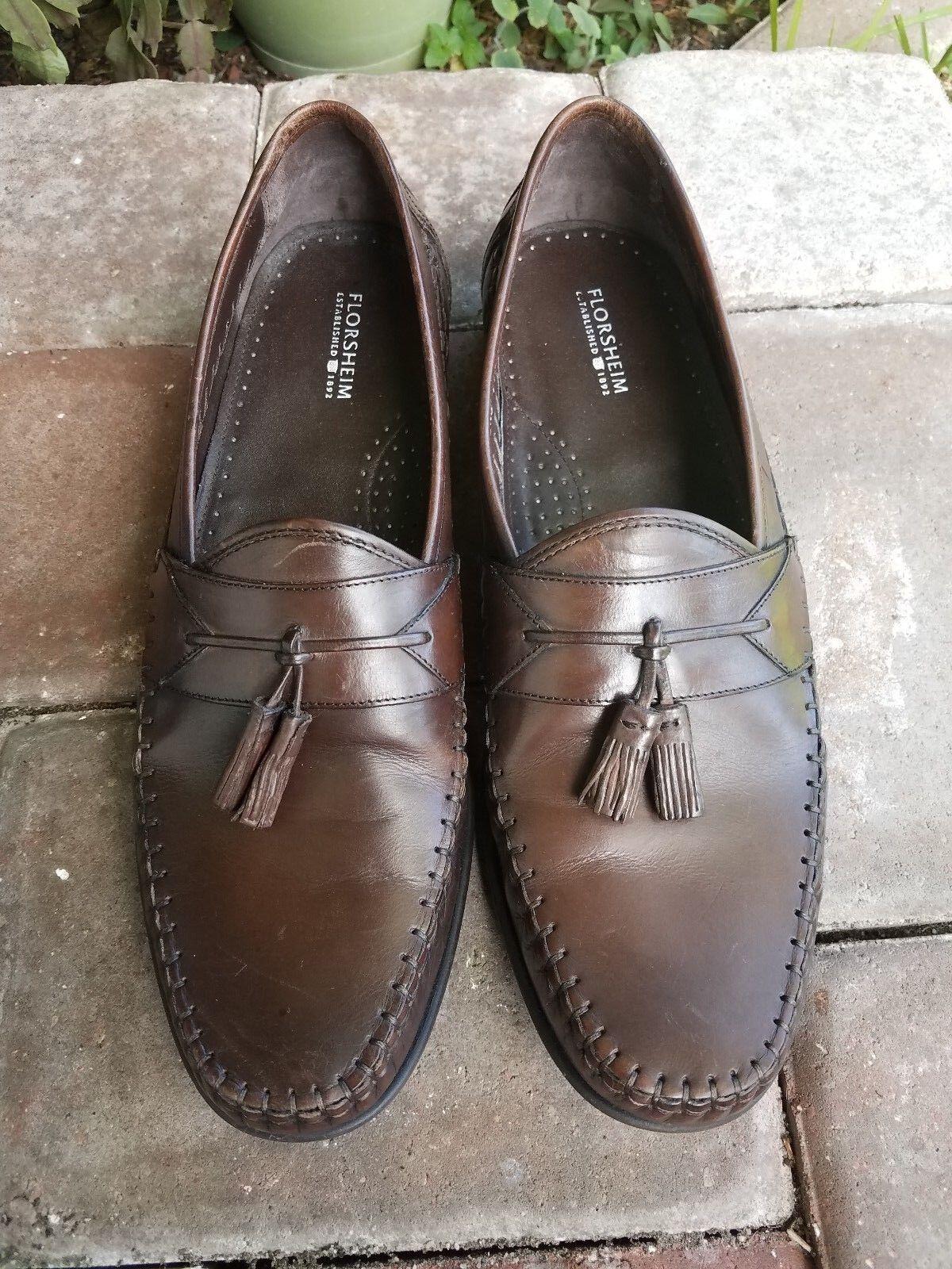 Florsheim Men's Brown Loafers Leather Slip On Tassel Loafers Brown Size 12 M 5507d1