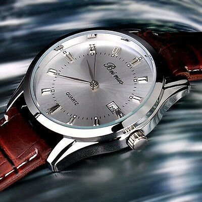 Men's Stainless Steel Calendar Dial Leather Business Quartz Wrist Watch