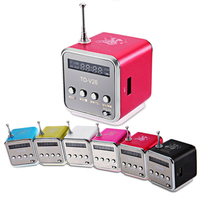 Stereo Mini Speaker Portable Micro SD/TF Music Player Digital LCD Sound FM Radio