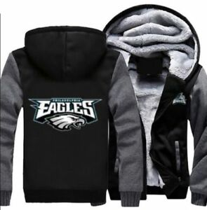 quality design ea9c0 f7617 Details about Philadelphia Eagles Hoodie Zip up Jacket Coat Winter Warm  Black and Gray