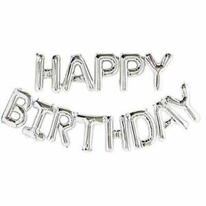 Silver-Happy-Birthday-Bunting-Banner-Foil-Balloon-Set-FREE-Straw-amp-Ribbon-5m