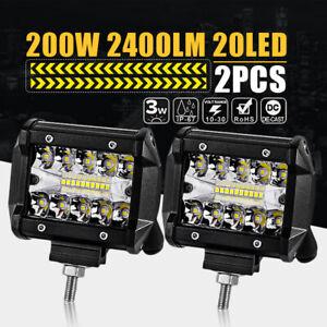 2x-4-039-039-LED-Arbeitsscheinwerfer-Flutlicht-Strahler-Nebelscheinwerfer-Auto