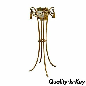 Vintage Gold Metal Italian Rope Tassel Plant Stand Planter