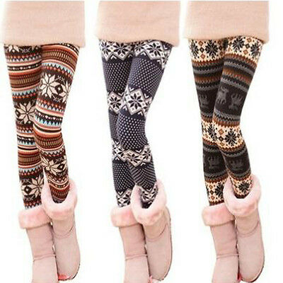 Winter Warm Women's Xmas Snowflake Reindeer Knitted Tights Pants Leggings