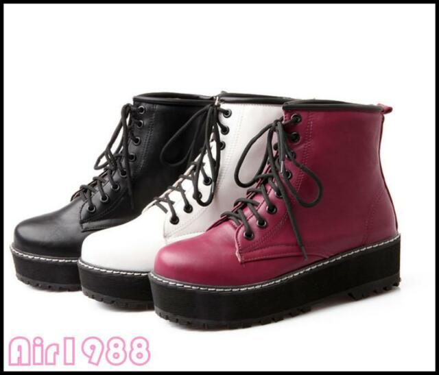 New womens girls fashion lace up ankle boot flat platform punk goth creeper Shoe