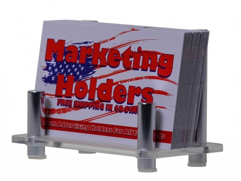 Lot of 12 Business Card Holder Chrome Coated Rods holds upright Frosted Base