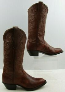 fdb295338 Details about Ladies Tony Lama Brown Leather Lizard Skin Western Boots  Size: 6M