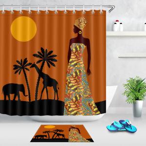 African women Shower Curtain Liner Fabric Mildew Bathroom Waterproof /& Bath Mat