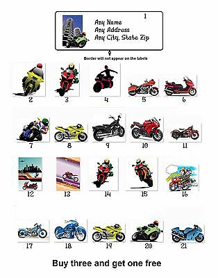 Personalized Return Address Motorcycles Bikers Labels Buy 3 get 1 free (mb2)
