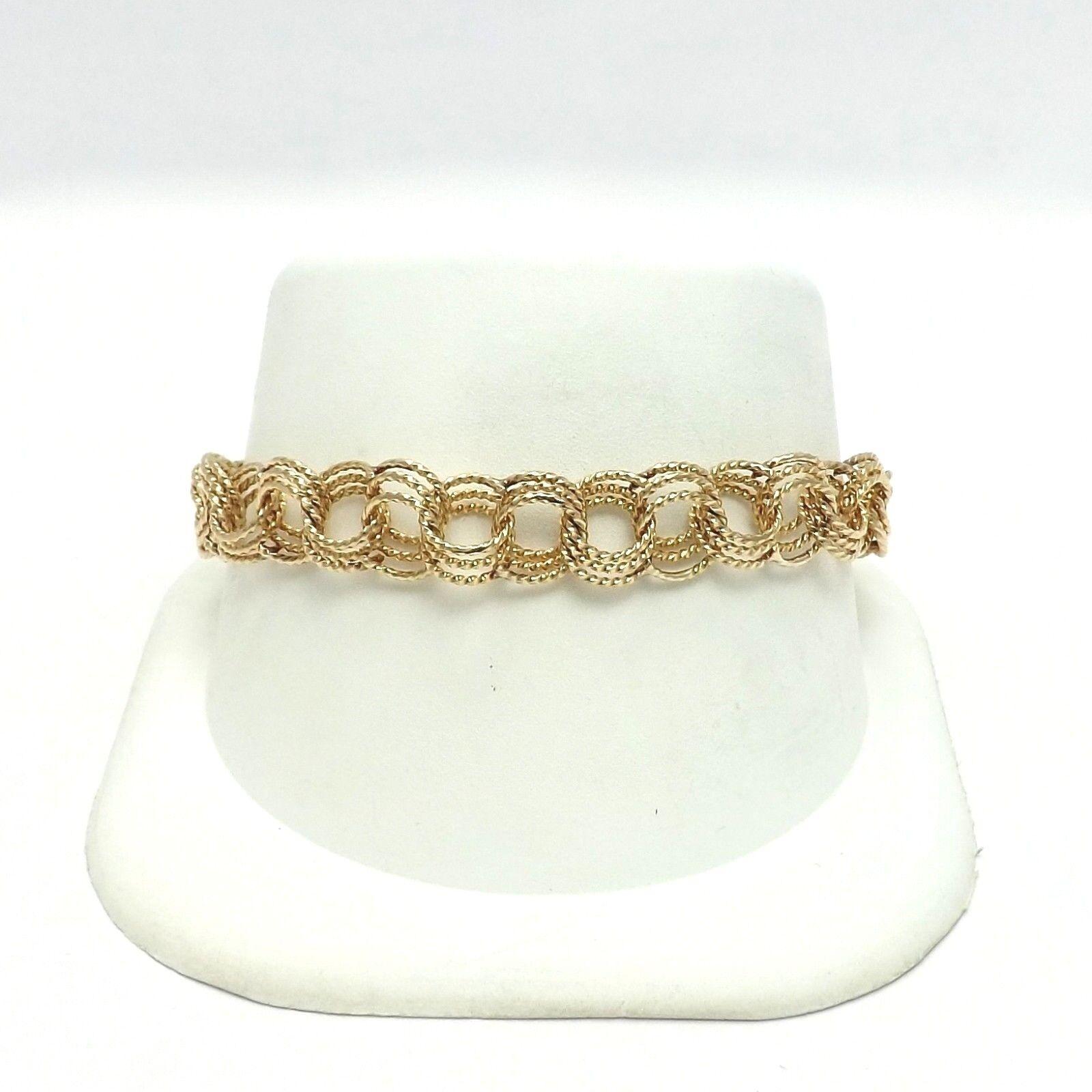 14k gold Vintage Solid Textured Triple Wire Charm Bracelet 7.5