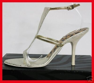ROBERTO CAVALLI SHIMMERING LEATHER SHOES SANDALS 40-10