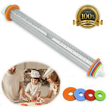 Adjustable Stainless Steel Rolling Pin with 4 Thickness Rings for Baking 17 inch
