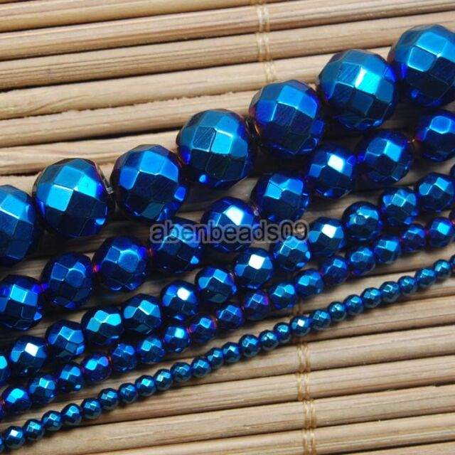 "Hematite Gemstone Faceted Round Ball Beads 15"" Metallic Color 2 3 4 6 8 10mm"