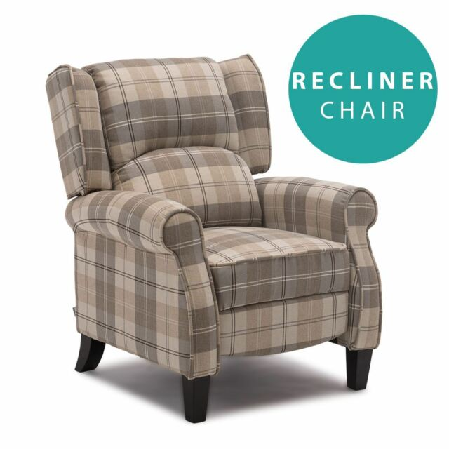 Superieur EATON BEIGE WING BACK FIRESIDE CHECK FABRIC RECLINER ARMCHAIR SOFA LOUNGE  CHAIR