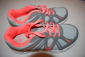 Girls-Athletic-Sneakers-GRAY-amp-ORANGE-TENNIS-SHOES-Lace-Up-12-13-1-2-3-4-5-6