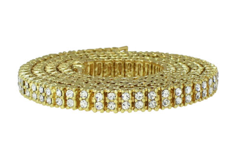 Men Women 2 Row Iced Tennis Necklace 14k Gold Plated Choker Chain Cz Hip Hop