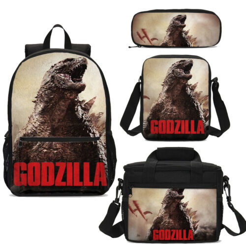 GODZILLA Kids Large Backpack Lunch Tote Satchel Pen Case Wholesale Combo for Boy