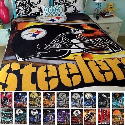 "Official NFL Queen/Full 60"" x 80""  Large Royal Plush Raschel Blanket"