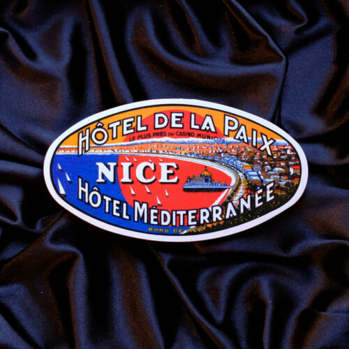 "#2356 Hotel Mediterranee Nice France 4x2/"" Retro vintage Luggage Label Sticker"