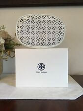 Tory Burch White Lace Cosmetic Case Makeup Pouch Toiletry Bag New in Box