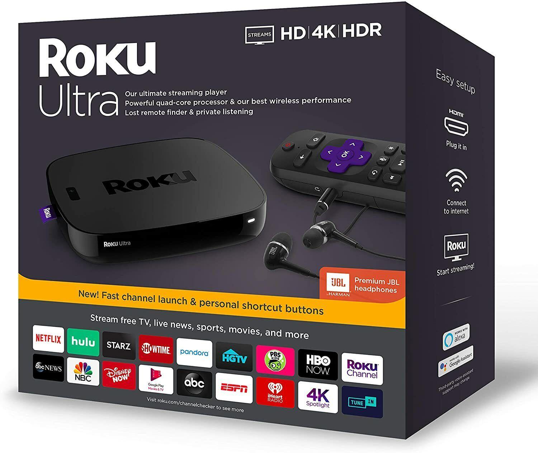 New Roku Ultra Streaming Media Player 4K/HD/HDR with Premium JBL Headphones 2019 headphones jbl media new player premium roku streaming ultra with