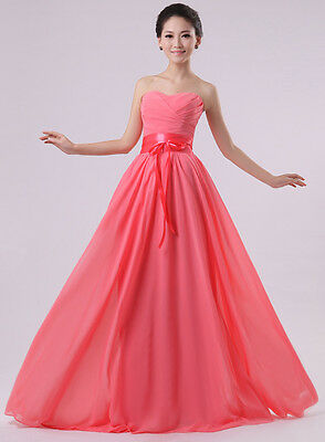 Strapless Long Formal Evening Prom Party Wedding Bridesmaids Dress Bowknot C122
