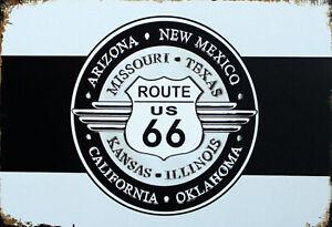 Itineraire-66-Arizona-Texas-Panneau-Metallique-Plaque-Voute-en-Etain-20-X-30-CM