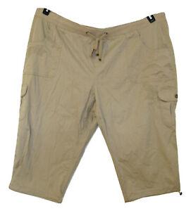 NEW-Cargo-Capri-Pants-Plus-Size-3X-24W-26W-Capris-Pockets-Embroidered-Beige-NWT