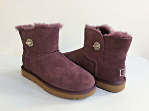 Details about NEW WOMENS SIZE 5 PORT UGG MINI TURNLOCK BLING SWAROVSKI SUEDE SHEEPSKIN BOOTS