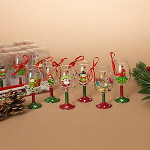 Set-of-6-4-034-Wine-Glass-Christmas-Ornaments-Hand-Painted-Christmas-Characters