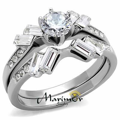 1.65 Ct Round & Baguette Cut CZ Stainless Steel Wedding Ring Set Women's Sz 5-10