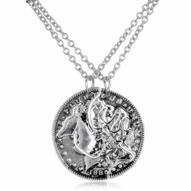 2pcs Necklace Set Of Browning Deer Coin Pendants Best Friends