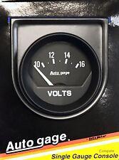 Auto Meter Autogage 2362 Black Single Gauge Consol 2 116 10 16 Volt Gauge