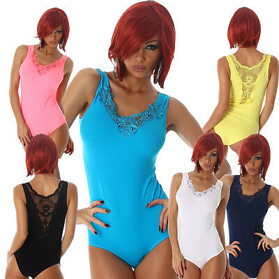 Damen Body Top Bodytop String Catsuit Schnürrung S M 34 36 38 Dessous Lingerie