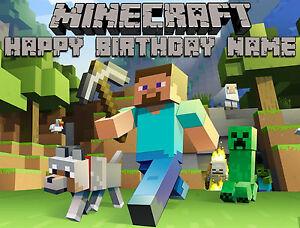 EDIBLE Minecraft Image Cake Topper Birthday Party Wafer Paper Sheet