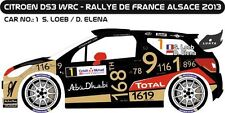 DECALS 1/43 CITROËN DS3 WRC #1 - LOEB - RALLYE DE FRANCE ALSACE 2013 -MFZ D43255