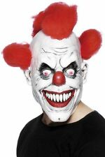 Fancy Dress Clown 3/4 Mask w/ Hair Scary Circus Horror Halloween
