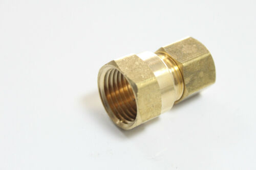 """Lot of 25 New Brass 3//8/"""" OD x 1//2/"""" Female NPT Compression Connector Fitting"""