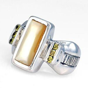 Handcrafted-Sterling-Silver-Gold-Lip-Mother-of-Pearl-Inlay-Diamond-Ring-Size-7