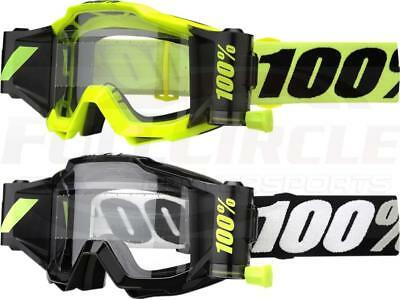 100/% ACCURI Adulti previsione Roll Off Occhiali Motocross Enduro-Giallo Fluorescente