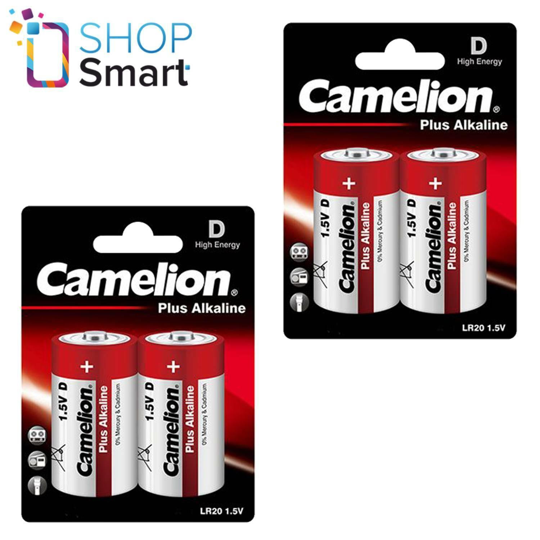 4 Camelion D more Alkaline Batteries lr20 mn1300 am1 e95 1.5v 2bl Exp 2028 NEW