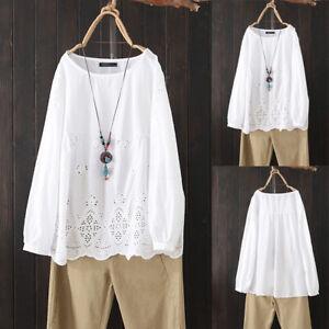 ZANZEA-Femme-Haut-Shirt-Loisir-Casual-Manche-Longue-Broderie-Col-Rond-Creux-Plus