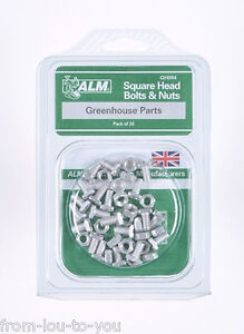 Pack of 20 Square head bolt and nuts set - Greenhouse Parts