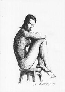 original-drawing-4-13BV-art-by-samovar-ink-female-nude-Signed-2020